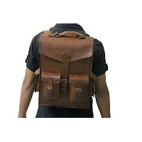 (BH) B H Vintage Leather Mens Satchel Briefcase 2-in-1 Messenger Bag Backpack Rucksack Laptop