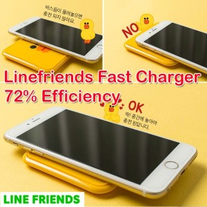 [Naver] Genuine Linefriends Wireless Fast Charger Patch for Android/Charging Pad /Wireless Mini...