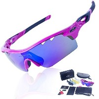 RIVBOS TR90 801 POLARIZED Sports Sunglasses Glasses with 5 Interchangeable Lenses (UpGrade TR Rose...