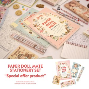 [Made In Korea] Afrocat Paper Doll Mate Stationery Special Set Spring Notebook Mini Memo Pencils...