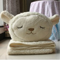 Sheep Plush Toy Gift Dual-use Cushion Pillow Kid Air-condition Blanket