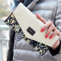New Envelope Women Wallets Hit Color 3Fold Flowers Printing PU Leather Wallet Long Ladies Clutch...