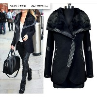 winter black turn down fur collar wool coat women s leather patchwork Zipper wool jacket outerwear