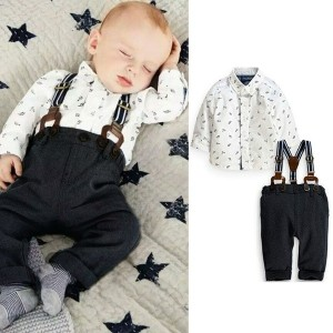 2Pcs Set Outfit Baby Boy Clothes Sets Toddler Shirt Top+Bib Pants Overall Costume Kids Clothing Set