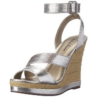 Michael Antonio Womens Gate Wedge Sandal Silver 7.5 M US