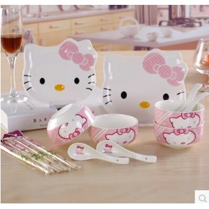 Ceramic dishes suit hellokitty KT Hello Kitty Korean bone china tableware bowl spoon wholesale gift...