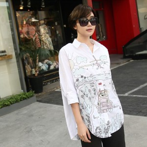 [zoozoom] Embroidery loose fit shirt 1color / 22967