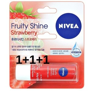 NIVEA Lip Shine Strawberry 4.8g hureuti[1+1+1]