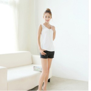 Cotton Vest Female Summer Bottoming Outer Wear White Lace Sleeveless T-shirt Spring Bottoming Slim