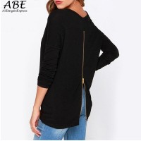 New Spring Women Sexy T-Shirt Long Sleeve Casual Ladies Tops O Neck Back Zipper T Shirt Basic Tshirt