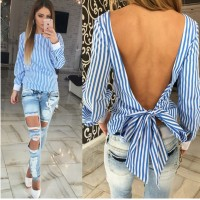 New Fashion Sexy Tops Long Sleeve tee top Striped Open Back Women Tee shirt Women Clothes Plus size