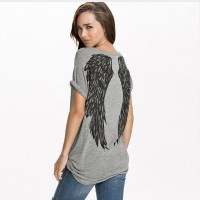 New summer style T-shirts women back angel wings printing short sleeve loose plus size t shirt women