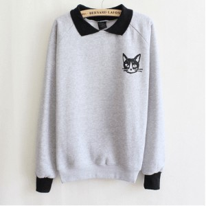 Hot Fashion Women Lapel Neck Pullover Sweatshirt Cat Printed Loose Blouse Coat