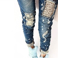 Fashion Brand Leopard Slim Fit Pencil Jeans Woman Trousers Casual Ripped Jeans Denim Pencil Pants...