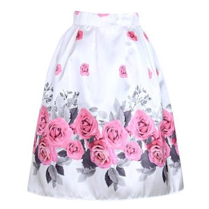 Fashion High Waist Women Floral Skirt