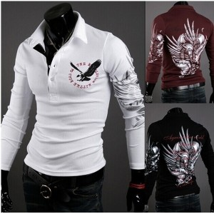 European and American wind eagle printed t-shirts &amp men s fashion long-sleeved clothes