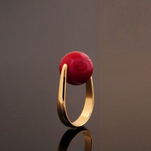 ★★ Big Sale ★★ Real Coral14mm Ring //adjustable size // Girl- women// 18K Gold Plated