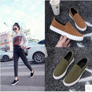 Korean version of the female shoes leather foot pedal lazy shoes women flat down casual shoes