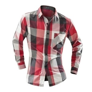 New Fashion Fall Winter Men Casual Plaid Shirt Long Sleeve Slim Fit Flannel Man Clothes Mens Shirts