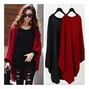 Women Loose Batwing Sleeve Cape Poncho Knit Cardigan