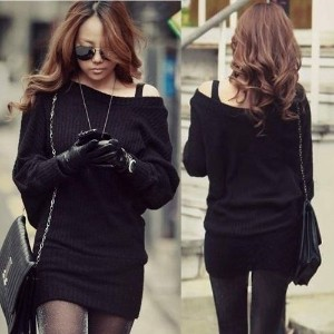 Women Knitting Black Mini Dresses Thin Sweaters Knit Batwing Sleeves Tops (Color: Black)