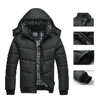 Men s Winter Casual Puffer Parka Cotton Paded Quilted Hoodie Hooded Jacket Coat