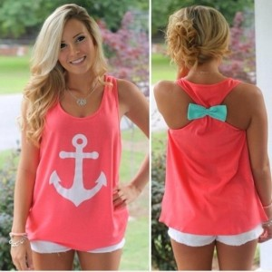 Fashion Women s Summer Navy Anchor Vest Top Sleeveless Blouse Casual Tank Tops T shirt Egg Doggi