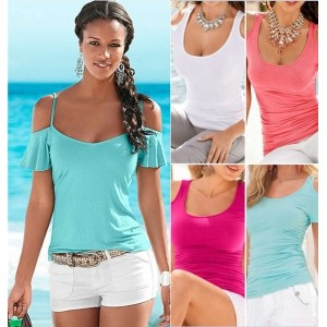 Fashion Womens Solid Color Shirts Blouse Short Sleeve T-shirt Sexy Beachwear Party Top Shirts