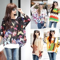 Women Fashion Batwing Sleeve Chiffon Bohemian Tops Oversized Blouse Shirt tm