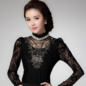 New Fashion Elegant Womens Slim Turtleneck Lace Bead Blouses Crochet Hollow Out Long Sleeve Tops...
