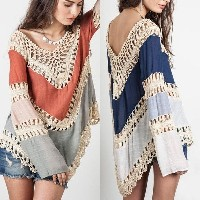 New Womens Long Sleeve Lace Knitwear Pullover Crochet Sweater Top Blouse T-shirt
