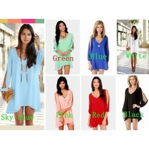 Sexy Latest Womens Loose Round Neck Strapless A-line Casual Chiffon Skirts Mini Dress 7 colors S-XXL