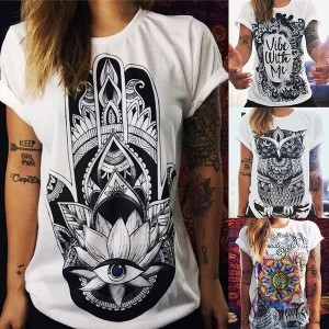 Women Fashion Summer T Shirt Women 3D Print T-shirt Loose Punk Tees