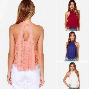 Wanted Blouse Loose Shirt Tops Fashion Women Sexy Casual Sleeveless Hollow Lace Halter Vest DCD