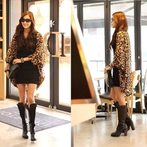 Women Loose Long Leopard Chiffon Cardigan Batwing Dolman Sleeves One Size