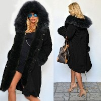 Luxury Women Faux Fur Coat Casual Hood Parka Ladies Long Trench Jacket Outwear