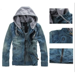 2014 New Men s Fashion Jacket Demin Slim Casual Detachable Hood Jacket Hoodie