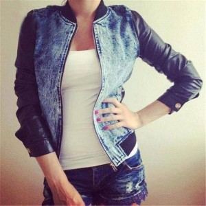 Women New Fashion Jean&amp Denim Coat with PU Sleeve