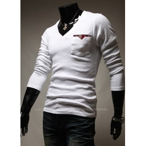 White V-Neck Men Long Sleeves T-Shirts