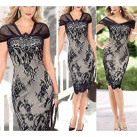 New Elegant Fashion Black Dress Short Sleeveless Lace Party Dress Floral Print Sexy Women Clothing