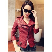 Autumn winter women red black jacket bomber motorcycle Leather jackets Solid jacket jaqueta coat