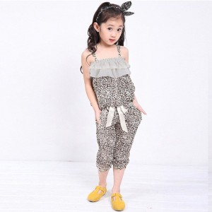 Kids Girl Sleeveless Casual Spaghetti Strap Top OutfitLeopard Print Ruffles Outfit