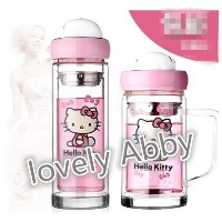 hello Kitty cups portable cute double glass flower cup filter cup cartoon female office