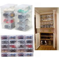 10X Transparent Clear Plastic Shoe Boxes Stackable Foldable Organizer Box Bulk Free shippingFree...