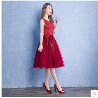 In the long section dress 2017 spring new bride toast short dress bridesmaid dress evening dress red