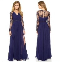Fashion-House V-neck Long-sleeved Chiffon Dress Lace Dress Dinner Dress Maxi Dress