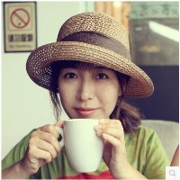 Sunny hat female summer Korean version of the sun hat leisure wild curling straw hat travel folding