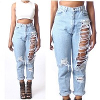 Women High Waist Destroyed Boyfriend BF Jeans Ripped Denim Hole Pants Plus Size