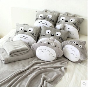Singapore Cute Totoro pillow air conditioning blanket coral velvet pillow nap pillow air conditionin...