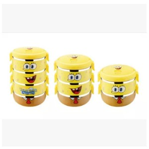 SpongeBob stainless students multilayer insulation boxes lunch box children lunch box cartoon...
